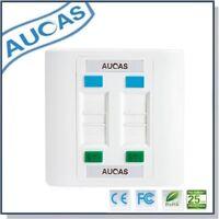 Aucas 4 Ports Socket RJ45 Wall Face Plate Faceplate Network Lan Computer Phone