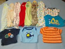 Infant Boy's 12 Piece Lot Footed Sleepers Gerber Onesie Shirts Size 3-9 Months