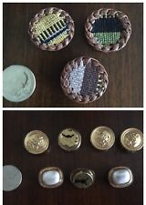 Button Covers set of 10- 4 Gold, 3 White, and 3 Button Covers of various designs