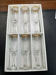 Wine FLUTES CLASSIC GOLD RIMMED 6 Sparkling Wine FLUTES party Christmas
