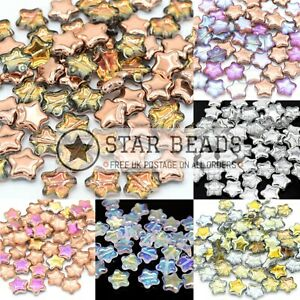 CZECH PRESSED GLASS STAR BEADS FOR JEWELLERY MAKING - PICK COLOUR & SIZE
