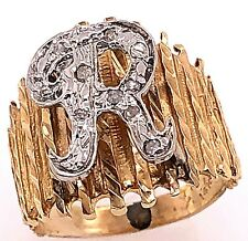 14 Karat Two Tone Gold Initial Style R Ring with Round Diamonds 101-1174