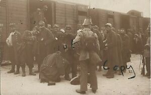 French POWs Prisoners of war disembarking railway carriage German escort Orhdruf