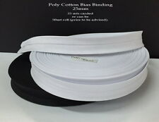 Bias Binding. Poly Cotton. 25mm width. Listing for 25 mts. Either White or Black