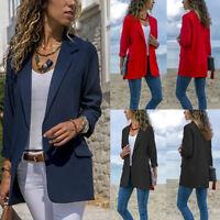 Womens Autumn Laple OL Blazer Coat Ladies Slim Office Long Sleeve Jacket Outwear