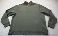 Orvis Mens Gray Cotton Soft Fleece Lined 1/4 Zip Pullover Sweatshirt Sweater 2XL