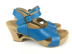Dansko Tasha Blue Leather Heeled Wedge Slingback Sandal 3604340600 Womens 36 / 5