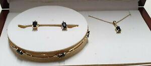 9ct 375 Yellow Gold Diamond Black Sapphire Bracelet Necklace Earrings Set