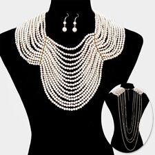 LUXE Statement Gold Pearl Front & Back Drop Bib Necklace Set By Rocks Boutique