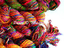200 Grams Vintage Handmade Recycled Soft Pure Sari Silk Yarn Knit Woven 2 Skein