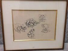 Pierre TAL-COAT  Dessin à l'encre de Chine signé les coqs original drawing *
