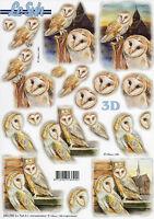3D Bogen Motivbogen Stanzbogen Bastelbogen ohne Ausschneiden Eule Eulen (311)