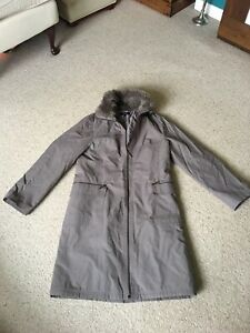 Collection At Debebhams Latte Long Zip Up Coat With Faux Fur Collar - Size 12