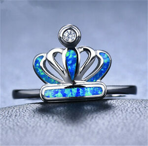 Women Silver Crown Blue Simulated Opal Wedding Engagement Jewelry Ring Size 9