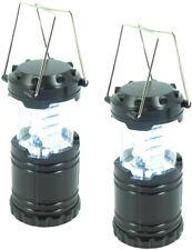 2x LED Camping Laterne 30 langlebige LEDs sehr kompakt Metallgriff in dunkelgrau