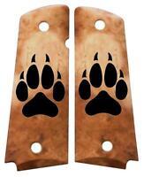 Custom Full Size 1911 Grips Ambidextrous Wolf Paw Faux Bone for Colt Kimber etc.