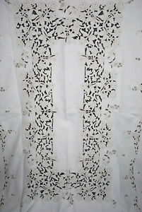 Vintage Tablecloth Madeira Embroidery Linen, Richelieu Cutwork Flowers 98 x 66