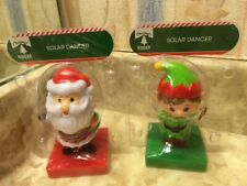 2pack -Solar Powered Dancing Elf and Santa Bobble Head Toy By Greenbrier NEW