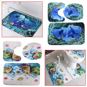 3Pcs Starfish Bathroom Non-Slip Pedestal Rug Lid Toilet Cover Mat Carpet Flannel