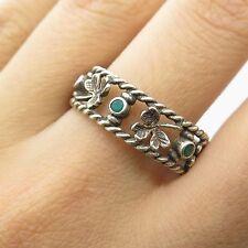 Ireland Vtg 925 Sterling Silver Real Emerald Gemstone Glover Band Ring Size 10