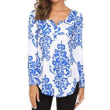 NEW Women Button Plus Tunic T-Shirt Casual Tops Blouse Long Sleeve Loose Shirt