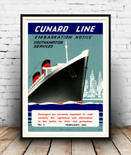 Cunard line, Vintage cruise ship advertising poster reproduction.