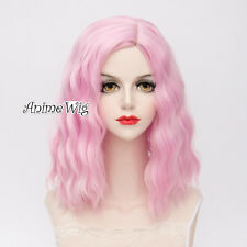 Lolita Light Pink Medium 40CM Curly Fashion Party Women Cosplay Wig + Wig Cap