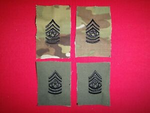 2 Pairs Of US Army Command SERGEANT Major E-9 Camo & Subdued Collar Devices