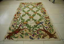6' X 9' Antique Needlepoint French Countryside Rug Tree Green Leaves Birds Nests
