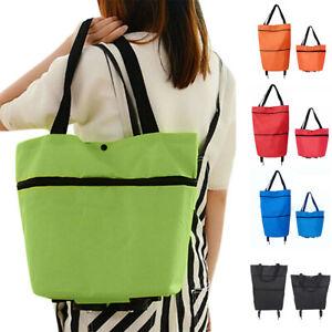 Foldable Shopping Bag on Wheels Reusable Eco Friendly Trolley Cart Large Handbag