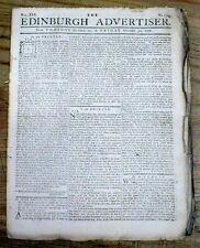 Original 1778-1781 American Revolutionary War newspaper from EDINBURGH Scotland