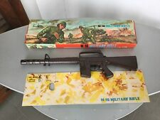 70s# VINTAGE M16 MACHINE GUN PLASTIC TOY BATTERY OPERATED#NIB FULL