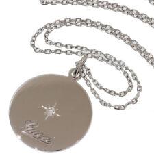 Gucci Diamond Round Tag Pendant Necklace in 18K White Gold D4271