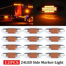 12x Amber Thin Side Marker Lights Clearance 24 LED Chrome for Freightliner 12V