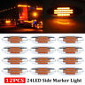 12x Amber Thin Side Marker Lights Clearance 24 LED Chrome for Freightliner 12V