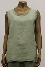 BODIL WOMEN'S SPRING LINEN SLEEVELESS TANK SHIRT BLOUSE PISTACHIO GREEN SMALL