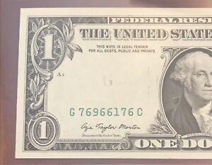 Authentic G MONEY $1 INK ERROR MISSING SEAL OVERPRINT 66PPQ GEM 1977 Fr. 1909