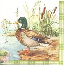 2 Serviettes en papier Famille Canard Cane Decoupage Paper Napkins Duck Familly