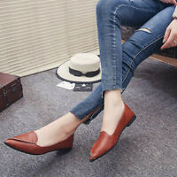 US Women Flat Shoes Pointed Toe Loafers Leather Causal Slip-on Dress Ballet