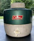 Vintage COLEMAN Water Jug Cooler Drink Dispenser Green & White 1 Gal Camp Picnic