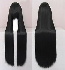 100CM Womens Black Long Straight Wig Cosplay Anime Full Wig Heat Resistant Bangs