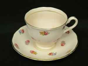 Colclough England Bone China Tea Cup and Saucer Pink With Roses