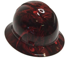 Hydro Dipped Hard Hat Full Brim Red Reaper 6 Point Harness W/ Free Brb Tshirt