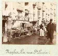 Italie, Naples, La Rue Sainte Lucie  Vintage citrate print.  Tirage citrate