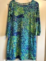 Lilly Pulitzer Turquoise Print Straight-Fit Dress- Size Small
