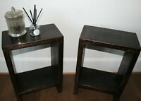 Rustic Handmade Solid Wood Pair of Bedside Side Tables Walnut Oak Lamp End Table