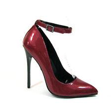"""Highest heel 'FIERCE-51-SC' red pearl patent w/strap Size 13 5"""" heel"""