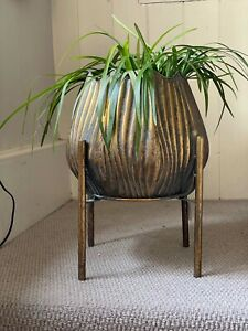 Tulip ShapedGold Bronzed Ribbed Metal Planters Flower Pot Holders Art Deco Style