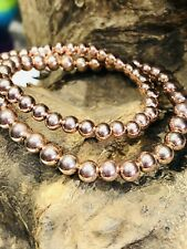 Sia 925 sterling silver rose gold elasticated stacking bracelet 5mm 6mm