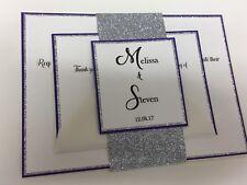 Cadbury Purple & Glitter Wedding Invitation With RSVP personalised & Bespoke